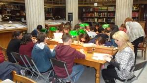εργασία των μαθητών στην Εθνικη Βιβλιοθηκη